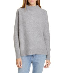 women's vince boiled cashmere funnel neck pullover, size large - grey