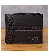 leather wallet, 'ancient bird in black' (peru)