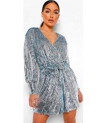 mini wikkel jurk met pailletten en lange mouwen, silver