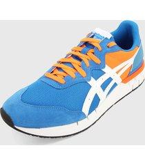 tenis lifestyle azul-naranja-blanco onitsuka tiger rebilac runner