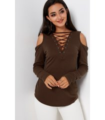 dark brown cold shoulder & lace-up t-shirt