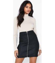 missguided corset detail coated denim skirt minikjolar