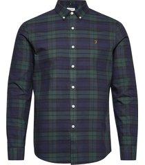 brewer check long sleeve slim fit shirt overhemd casual groen farah