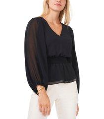 msk smocked-waist chiffon blouse