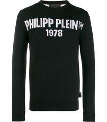 philipp plein knit logo print pullover - black