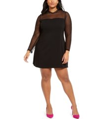 betsey johnson trendy plus size illusion-sleeve dress