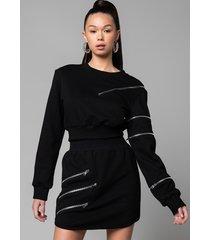 akira zippers long sleeve cropped sweatshirt