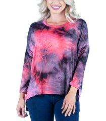 women's oversized tie dye long sleeve dolman tunic top