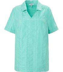 blouse wash & go in lichte a-lijn van kjbrand turquoise
