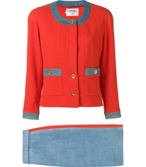 chanel pre-owned two-tone skirt suit - orange