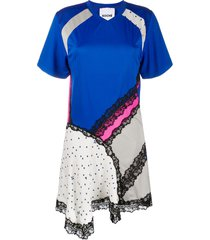 koché patch-work mini dress - blue