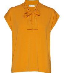 yamini tie_neck top blouses short-sleeved geel inwear