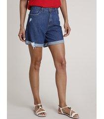 bermuda jeans feminina midi cintura alta com barra dobrada azul escuro