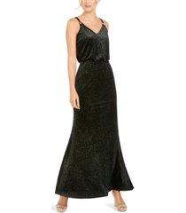 calvin klein shimmer velvet blouson gown