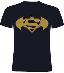 camiseta azul oscuro batman vs superman dorado