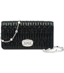 miu miu miu crystal matelassé wallet - black