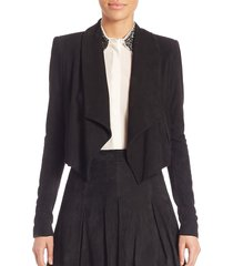 alice + olivia women's harvey shawl collar suede jacket - black - size l