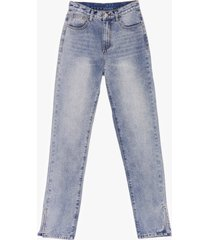 womens work slit out high-waisted straight-leg jeans - blue