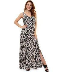 vestido kinara longo viscose animal print feminino - feminino