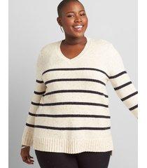 lane bryant women's striped v-neck pullover sweater 10/12 ivory