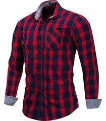 mens casual plaid pulsanti up manica lunga rossa e nera 100% cotone camicia con taschino