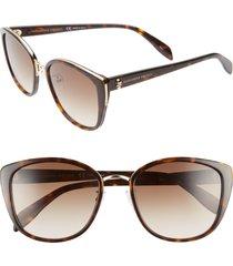 women's alexander mcqueen 56mm gradient round sunglasses - black havana/ gold