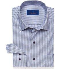 men's david donahue casual performance check shirt, size x-large - blue