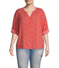 not your daughter's jeans women's henley popover top - wild flower blue - size 0x (10-12)