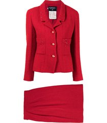 chanel pre-owned sequin-embellished skirt suit - red