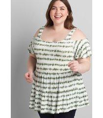 lane bryant women's cold-shoulder peplum max swing tee 26/28 green tie dye stripe