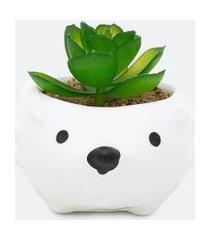 vaso cerâmica porco espinho com planta | accessories | branco | u