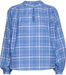 gia blus långärmad blå custommade