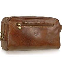 chiarugi designer travel bags, handmade brown genuine italian leather toiletry travel kit