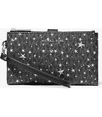 mk portafoglio per smartphone adele con logo e stelle - nero/argento (argento) - michael kors