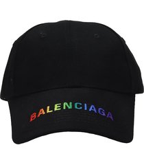 balenciaga rainbow visor hats in black cotton