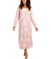 charter club petite cozy fleece long nightgown, created for macy's