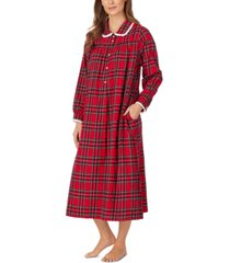 lanz of salzburg cotton lace-trim flannel nightgown