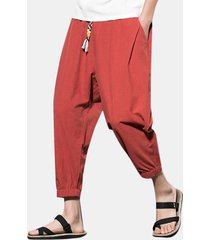 harem casual da uomo in cotone tinta unita in lino vintage pantaloni