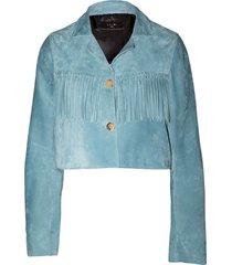 cobalt cropped fringe suede jacket