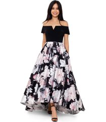 betsy & adam floral-print high-low ball gown