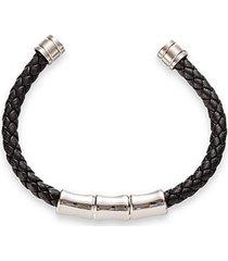 mateo titanium & leather cuff bracelet