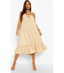 tall katoenen poplin midi jurk met zak detail, ecru