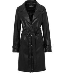 unreal fur belted faux leather coat - black