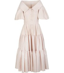pale pink poplin midi dress with open collar