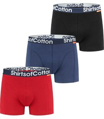 shirtsofcotton heren boxershorts multicolor zwart navy rood 3-pack blauw