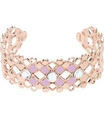 bracciale rigido in ottone rosato con cristalli e smalto rosa spessore 2,3 cm per donna