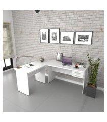 escrivaninha mesa de escritório em l trevalla 1,80x1,40m c/ 2 gavetas branco chess