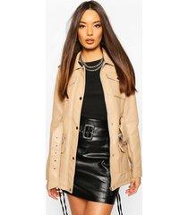 longline belted utility pu jacket, beige