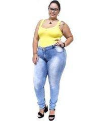 calça jeans credencial plus size skinny keitty manchada feminina