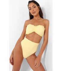 hoog uitgesneden bikini broekje met textuur en hoge taille, lemon